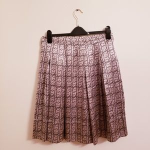 Burberry London Beige Pleated Silk Skirt Size 10